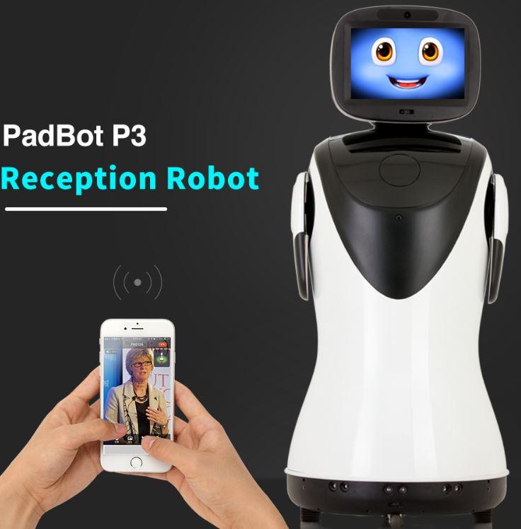 Imagen del robot mayordomo recepcionista PadBot P3 que es inteligente y de telepresencia
