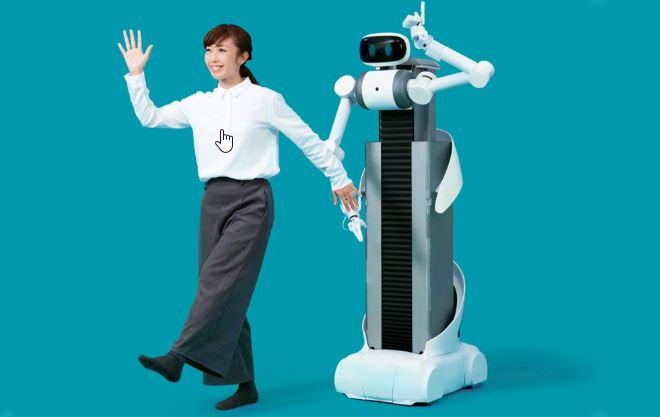 imagen de Ugo el robot mayordomo de Mira Robotics que limpia, laba y dobla ropa